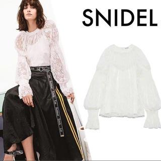 snidel - SNIDEL ♡新品タグ付き♡スモッキング♡総レース♡トップス
