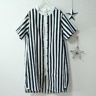 merlot - Fillil◇黒✖️白◇ストライプ柄★スタンドカラー半袖シャツワンピース