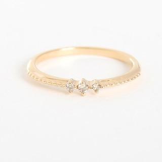 エテ(ete)のねねさま❕エテ K10 ピーチピンキー リング 5号 ダイヤモンド レイヤード (リング(指輪))