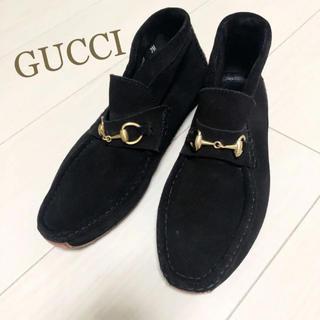 グッチ(Gucci)の美品!GUCCI 25.5 本革 イタリア製 ブラック ロゴ 靴 ブーツ(ブーツ)