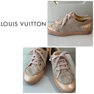 LOUIS VUITTON - ルイヴィトン ベージュスエード ゴールドモノグラム スニーカー