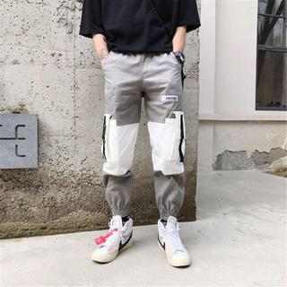 韓国ファッション メンズ カジュアル ストリート パンツ バイカラー ボトムス(ワークパンツ/カーゴパンツ)