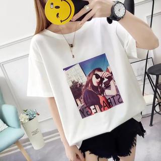 ♪プリント ホワイト バックリボン  カットソー オーバーサイズ Lサイズ(Tシャツ(半袖/袖なし))