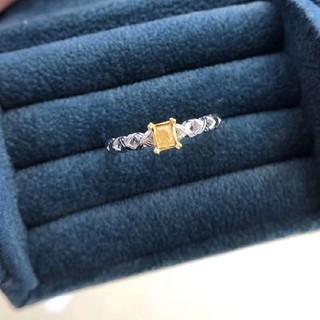 ♡スクエアーF.L.Yellowダイヤモンドリング(リング(指輪))