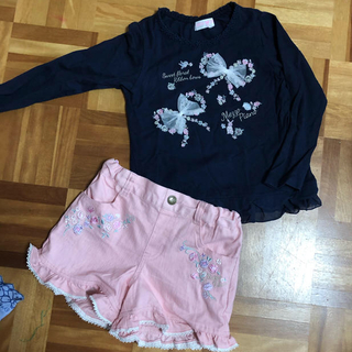 mezzo piano - メゾピアノ リボン 刺繍 ロンT 花刺繍 ショートパンツ