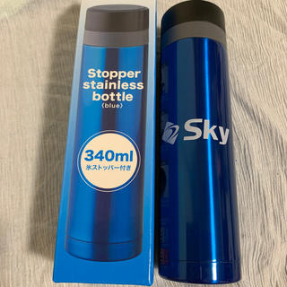 ステンレスボトル 新品 未使用 340ml 氷ストッパー付き ブルー 保温 保冷