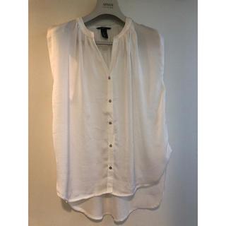 H&M - H&M半袖カットソーチュニックホワイト未使用に近夏体型カバー上品必須アイテム