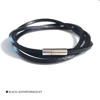3連 black レザー ブレスレット バングル 新品未使用 アクセサリー