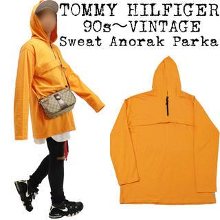 トミーヒルフィガー(TOMMY HILFIGER)の90s★TOMMY HILFIGER★トミー★ビッグアノラックパーカー★オレンジ(パーカー)