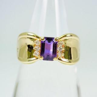 K18YG アメジスト ダイヤモンド リング 14号 [f39-15](リング(指輪))