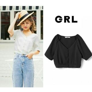 GRL - 【完売品】 新作新品  GRL  ショート丈パワショルブラウス  ブラック