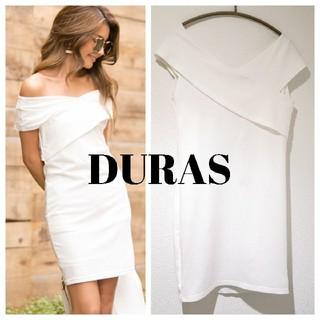 DURAS - 【新品/水通しのみ】DURAS デュラス フロントクロスワンピース ホワイト