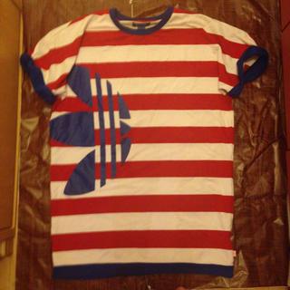 アディダス(adidas)のadidas original ボーダー Tシャツ L レッド ユニセックス(Tシャツ/カットソー(半袖/袖なし))