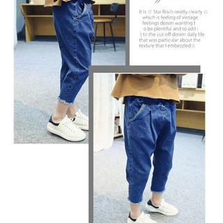 「90-130cm 」韓国子供服  カットオフデニム
