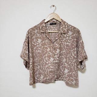Avail - オープンカラーシャツ 花柄 ベージュ
