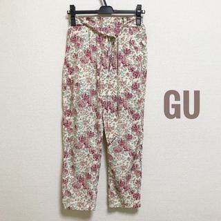 ジーユー(GU)のGU Mサイズ 花柄 ウエストリボン サルエルパンツ(サルエルパンツ)