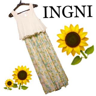 イング(INGNI)のイングほぼ未使用ロングワンピースドッキング花柄シフォンレースパステルカラー夏(ロングワンピース/マキシワンピース)
