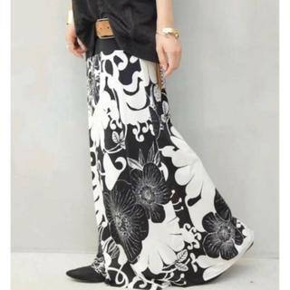 アンティカ 2way 花柄 ロングスカート ブラック系