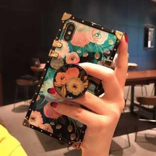 リング付 バラ 薔薇 鏡面 スクエア インスタ  iPhone7/8/X ケース