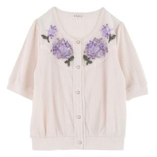 axes femme - axesfemme紫陽花刺繍カーディガン→ホワイト
