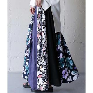 antiqua - アンティカ  花柄切り替えリブロングスカート 新品未使用 タグ付き