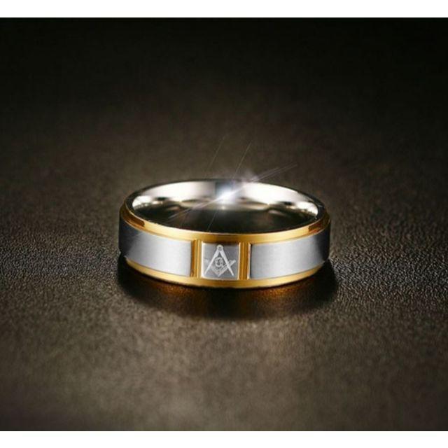14金ホワイトゴールド仕上げ フリーメイソン Gマーク リング 24号 メンズのアクセサリー(リング(指輪))の商品写真