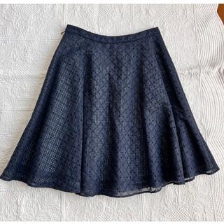 トッカ(TOCCA)のTOCCA スカート 0 S  刺繍  ネイビー(ひざ丈スカート)
