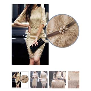 【使用タグ付き】ゴールド刺繍 ワンピース ベルト付き(ひざ丈ワンピース)