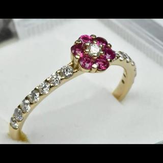 【新品】 K18PG ルビー ダイヤモンドリング 11号 指輪