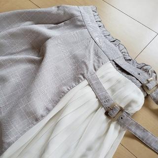 チェック×シフォンプリーツスカート