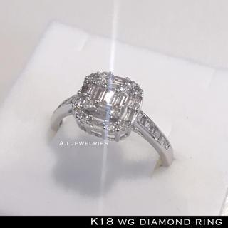 リング 18金 ホワイト ゴールド k18 WG 天然 ダイヤモンド リング (リング(指輪))