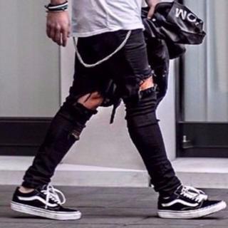 サイズが選べる ダメージデニム ブラック 黒 パンツ ニーホール ジーンズ
