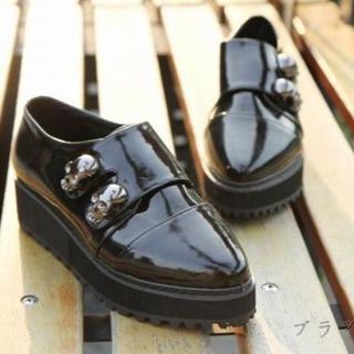 新品 スカルドクロ厚底靴シューズ黒23~23.5 ゴスパンクロックV系ライブ(ローファー/革靴)