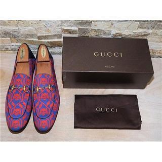 Gucci - 定価12万円 グッチ スカル柄 ホースビットローファー 赤×青 2626,5cm