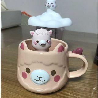 Starbucks Coffee - スタバ 6月新品 可愛い アルパカ カップ 茶こし セット 子供 ギフト ピンク