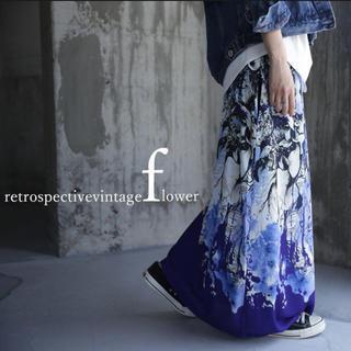 アート柄ロングスカート