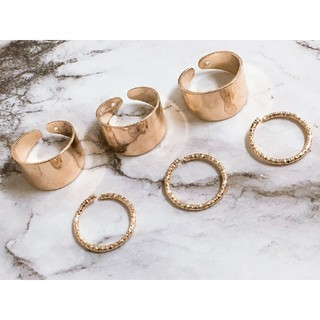 フリーサイズ 6連リング 指輪 ゴールド