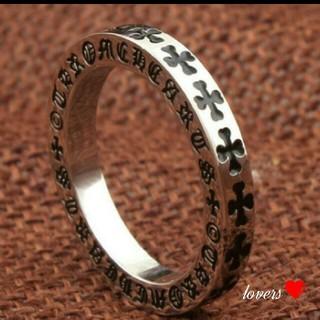 送料無料 15号 シルバー中墨 クロス 十字架 フープ スペーサー リング 指輪(リング(指輪))
