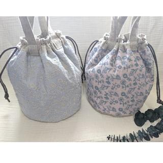 mina perhonen - ミナペルホネン&チェックアンドストライプ 丸底巾着バッグ