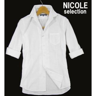 NICOLE - 新品★ ニコル セレクション シャドー 千鳥格子 七分袖シャツ 48/L 白
