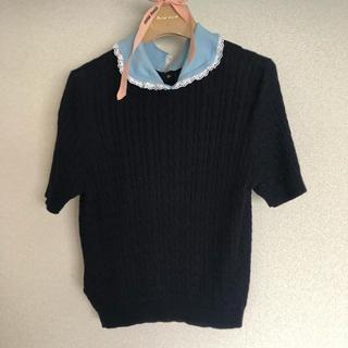 ミュウミュウ(miumiu)のmiumiu  フリル襟トップス ニット PRADA(カットソー(半袖/袖なし))