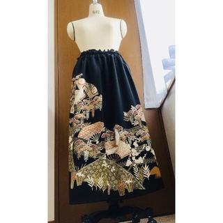 黒留袖リメイクドレススカート送料無料フリーサイズ黒留袖ハンドメイド1点物174