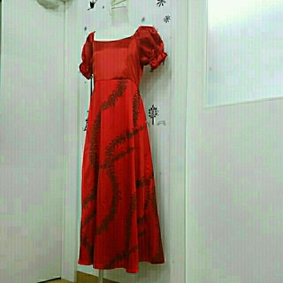 フラドレス ハワイアンドレス レッド系 フラダンス(その他ドレス)