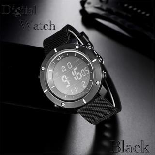 スポーツ腕時計 LED デジタル腕時計 ミリタリー スポーツウォッチ ブラック(腕時計(デジタル))