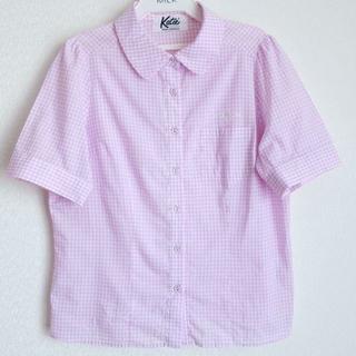 ケイティー(Katie)のkatie  puff blouse ブラウス ギンガム 丸襟 ピンク チェック(シャツ/ブラウス(半袖/袖なし))