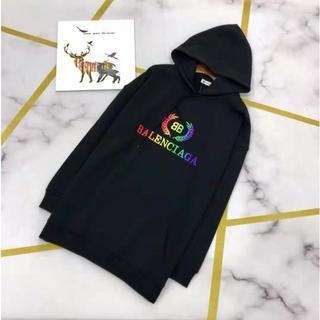 Balenciaga - バレンシアガ Rainbow BB Hoodie フーディ 黒 L