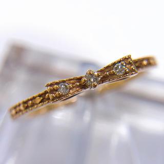 リボンモチーフ K10PG ダイヤモンドリング(リング(指輪))