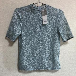 ジーユー(GU)のGU プチハイネックレースブラウス XS(シャツ/ブラウス(半袖/袖なし))