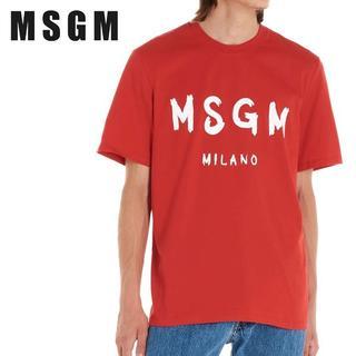 エムエスジイエム(MSGM)の【21】MSGM メンズ レッド MILANOロゴ 半袖 Tシャツ sizeXL(Tシャツ/カットソー(半袖/袖なし))