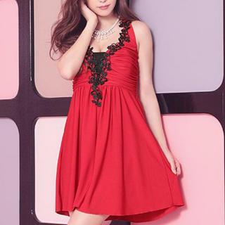 デイジーストア(dazzy store)のTika♡フラワー刺繍ホルターネックフレアミニドレス(ナイトドレス)